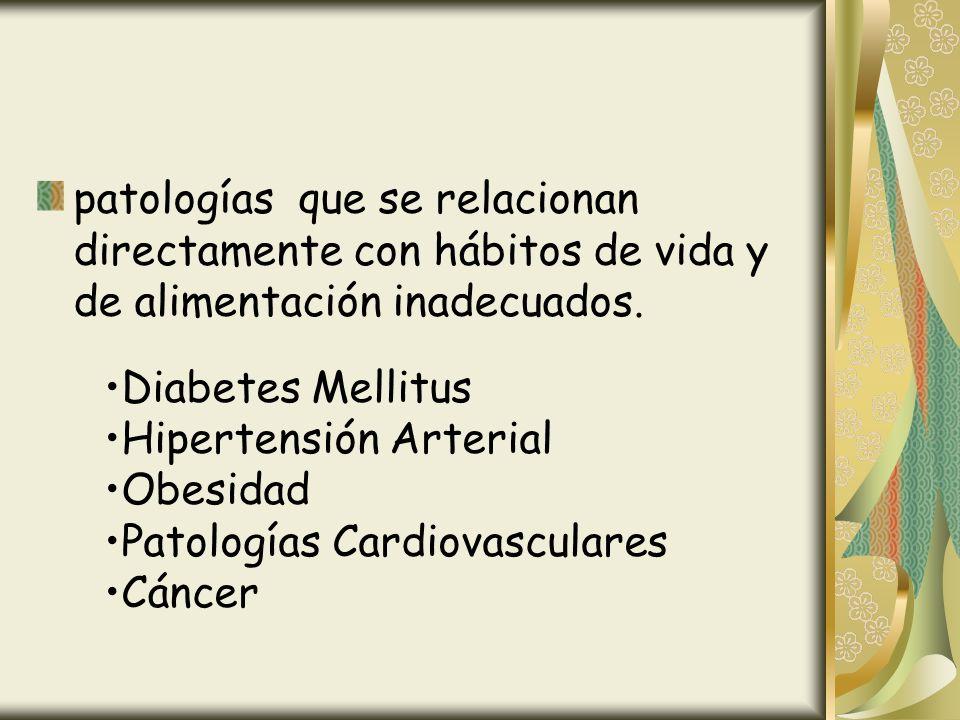 patologías que se relacionan directamente con hábitos de vida y de alimentación inadecuados. Diabetes Mellitus Hipertensión Arterial Obesidad Patologí