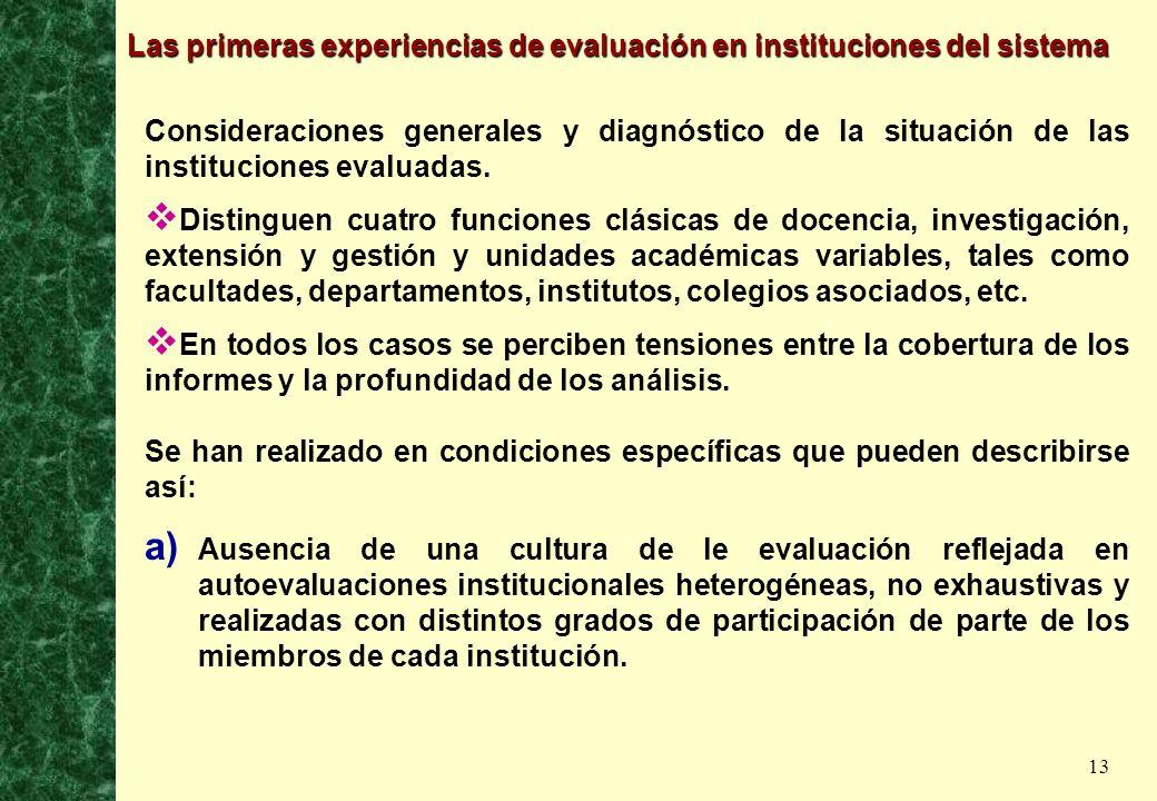 13 Las primeras experiencias de evaluación en instituciones del sistema Consideraciones generales y diagnóstico de la situación de las instituciones e