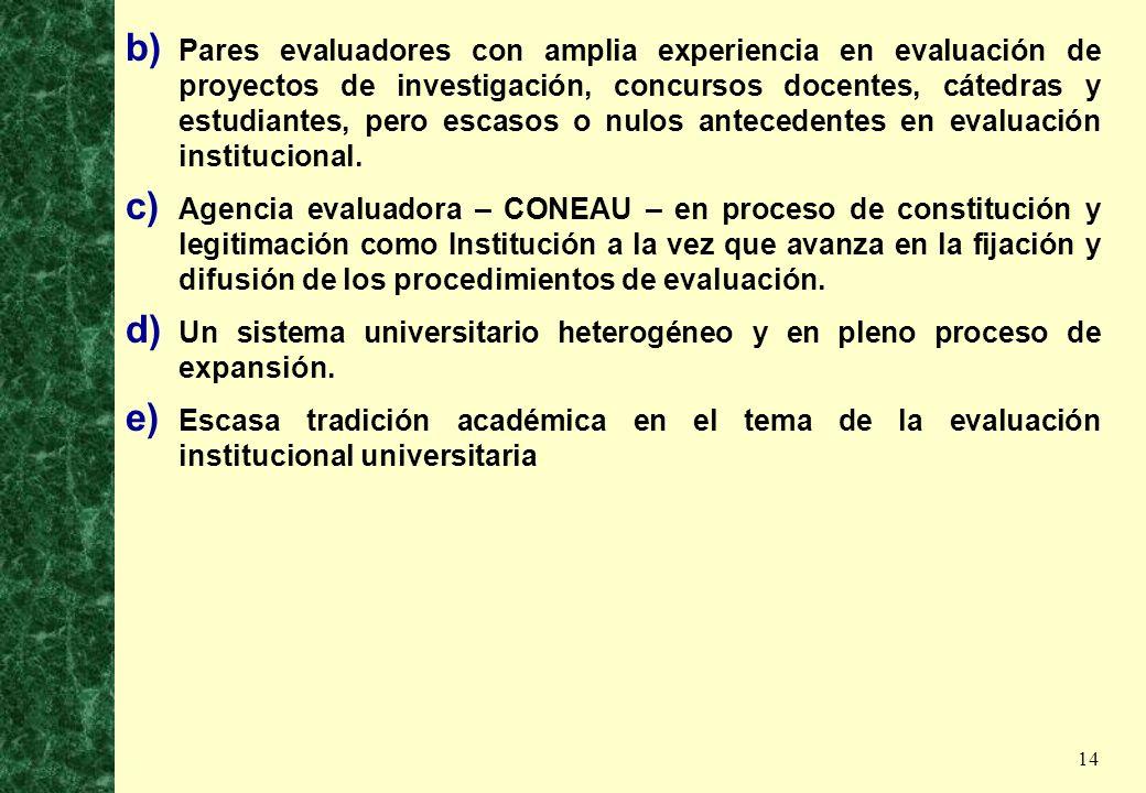 14 b) Pares evaluadores con amplia experiencia en evaluación de proyectos de investigación, concursos docentes, cátedras y estudiantes, pero escasos o