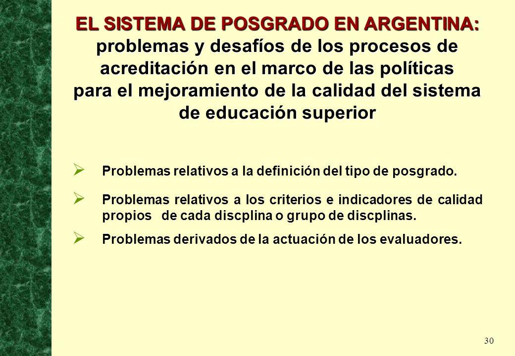 30 EL SISTEMA DE POSGRADO EN ARGENTINA: problemas y desafíos de los procesos de acreditación en el marco de las políticas para el mejoramiento de la c
