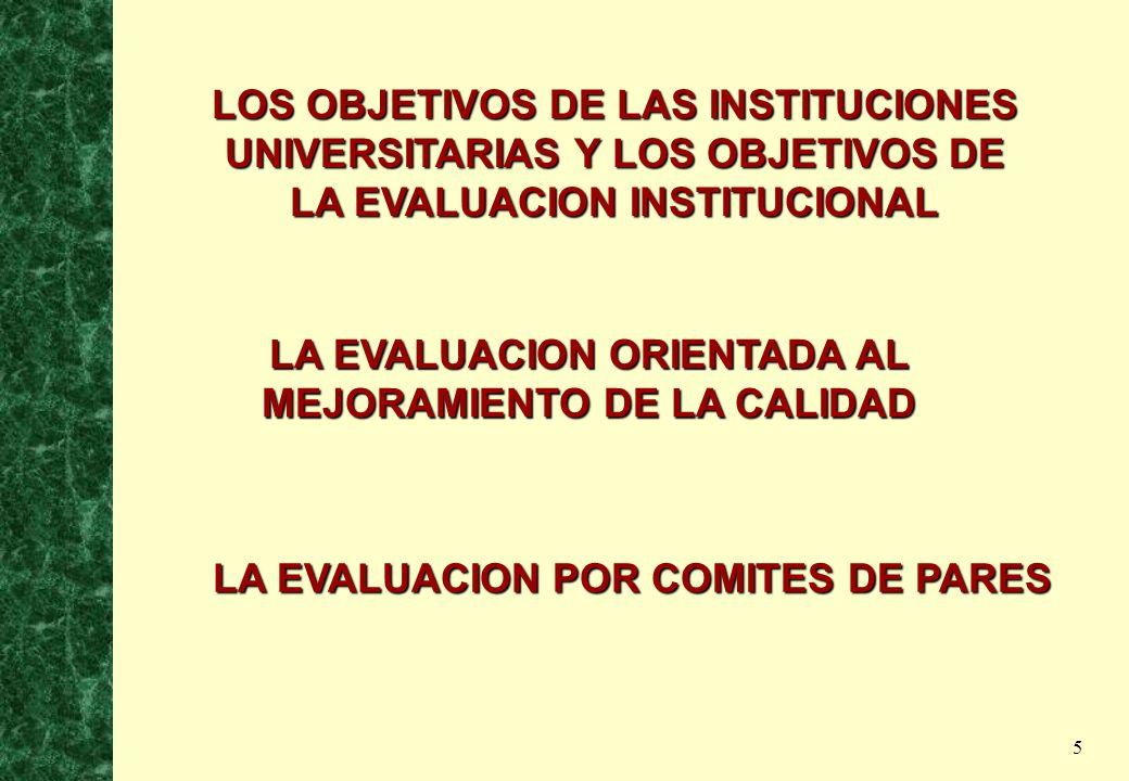 5 LOS OBJETIVOS DE LAS INSTITUCIONES UNIVERSITARIAS Y LOS OBJETIVOS DE LA EVALUACION INSTITUCIONAL LA EVALUACION ORIENTADA AL MEJORAMIENTO DE LA CALID