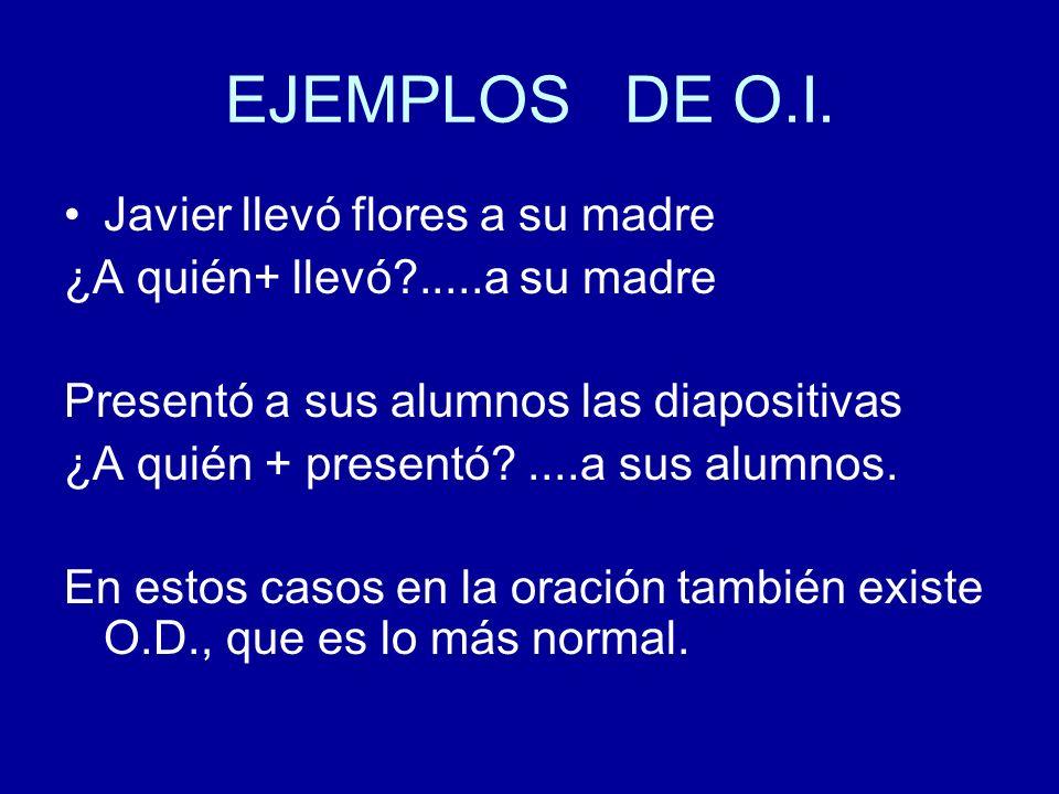 EJEMPLOS DE O.I. Javier llevó flores a su madre ¿A quién+ llevó?.....a su madre Presentó a sus alumnos las diapositivas ¿A quién + presentó?....a sus