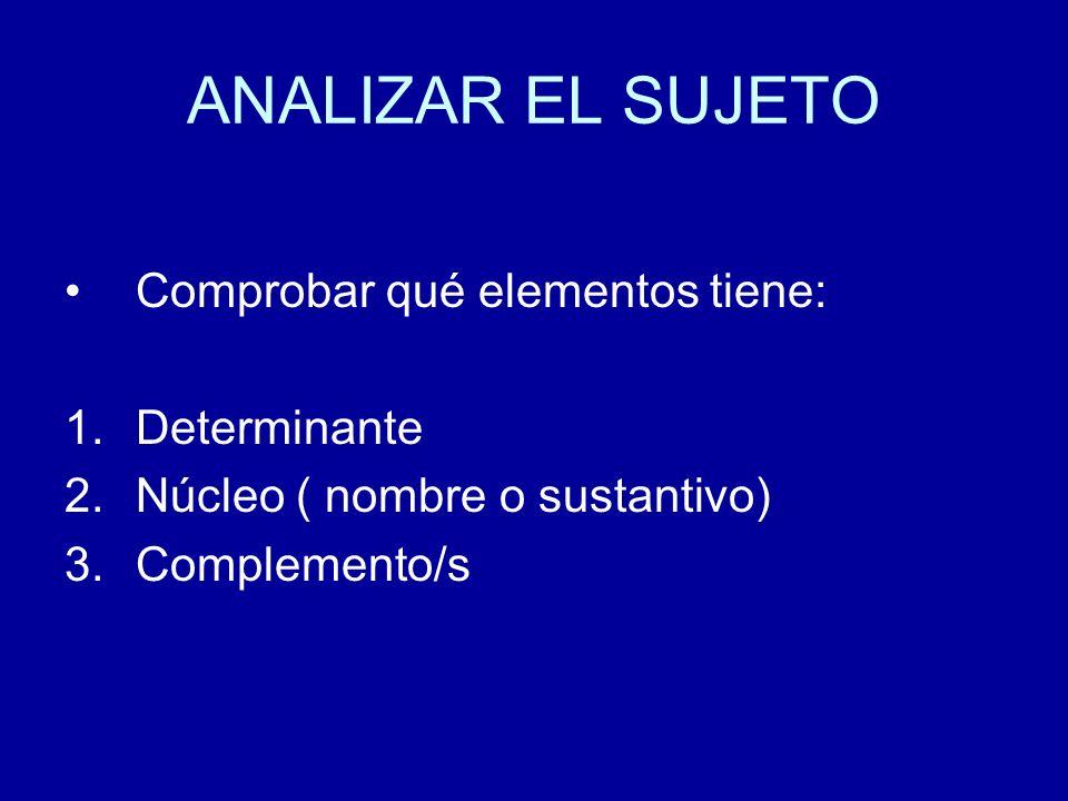ANALIZAR EL SUJETO Comprobar qué elementos tiene: 1.Determinante 2.Núcleo ( nombre o sustantivo) 3.Complemento/s
