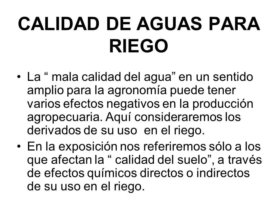 SALINIDAD Y ALCALINIDAD EN LOS SUELOS Deterioro de la calidad del suelo por efecto de las aguas de riego.