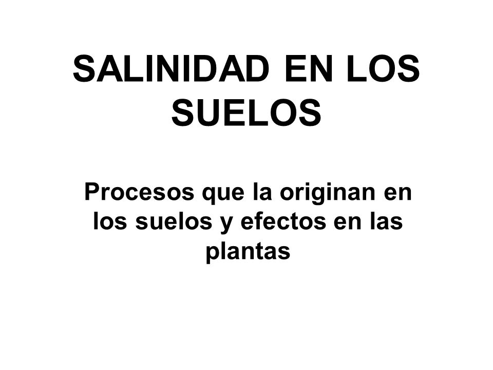 SALINIDAD EN LOS SUELOS Procesos que la originan en los suelos y efectos en las plantas