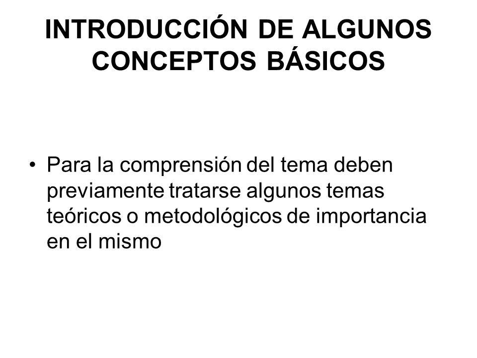 INTRODUCCIÓN DE ALGUNOS CONCEPTOS BÁSICOS Para la comprensión del tema deben previamente tratarse algunos temas teóricos o metodológicos de importanci