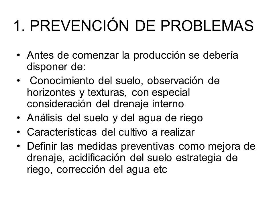 1. PREVENCIÓN DE PROBLEMAS Antes de comenzar la producción se debería disponer de: Conocimiento del suelo, observación de horizontes y texturas, con e