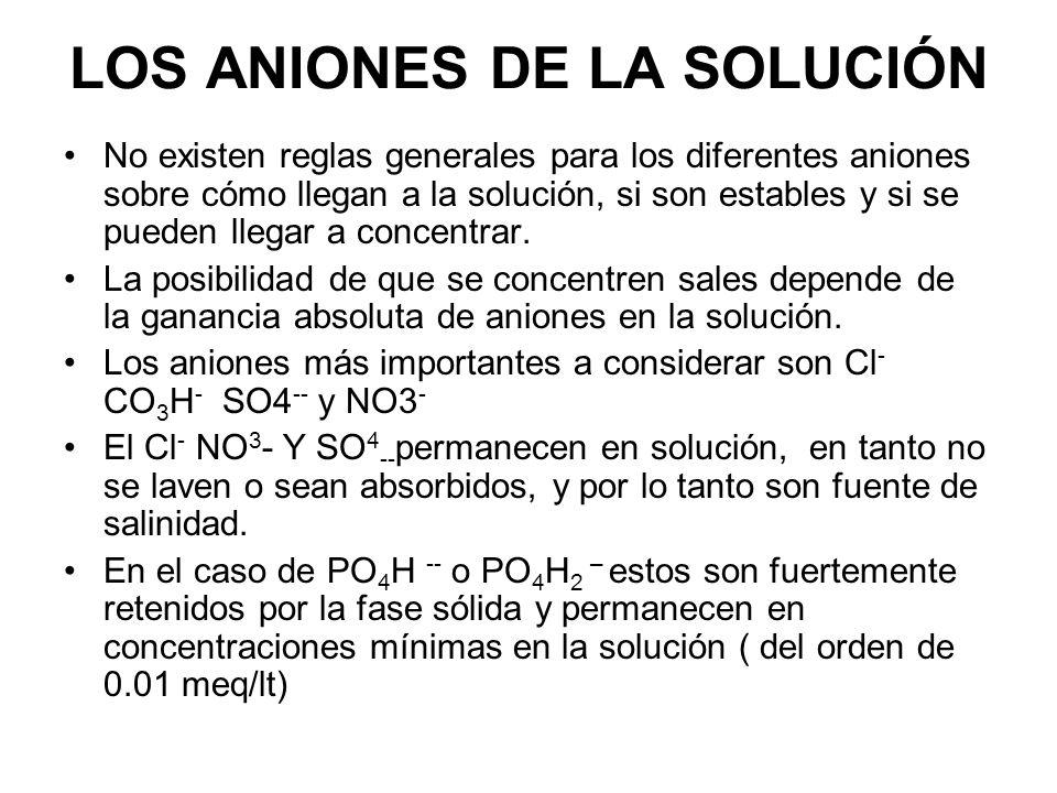 LOS ANIONES DE LA SOLUCIÓN No existen reglas generales para los diferentes aniones sobre cómo llegan a la solución, si son estables y si se pueden lle