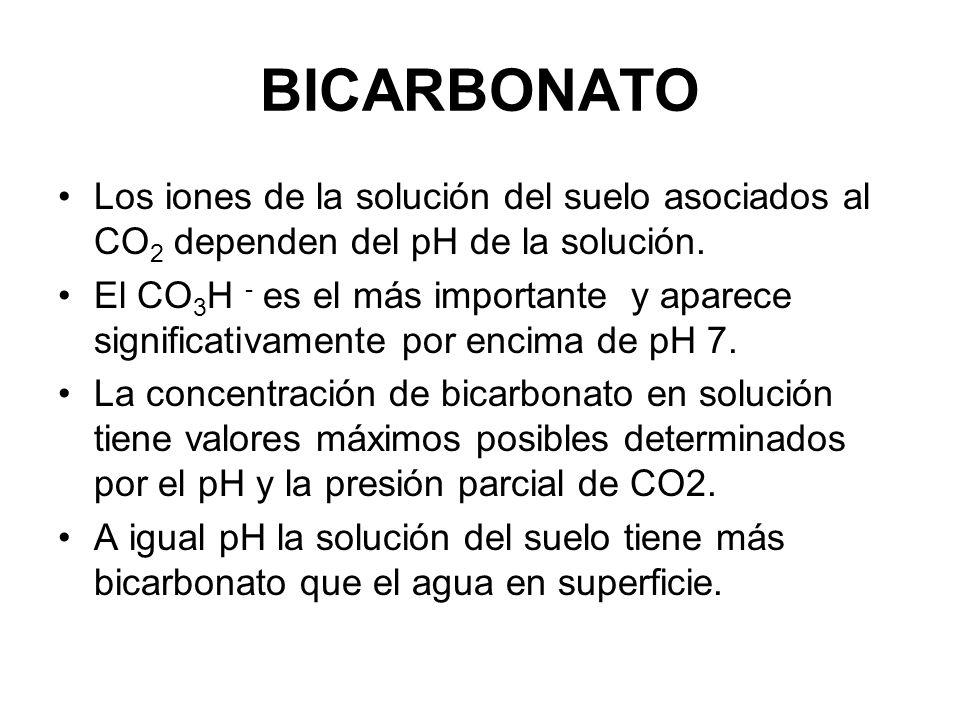 BICARBONATO Los iones de la solución del suelo asociados al CO 2 dependen del pH de la solución. El CO 3 H - es el más importante y aparece significat