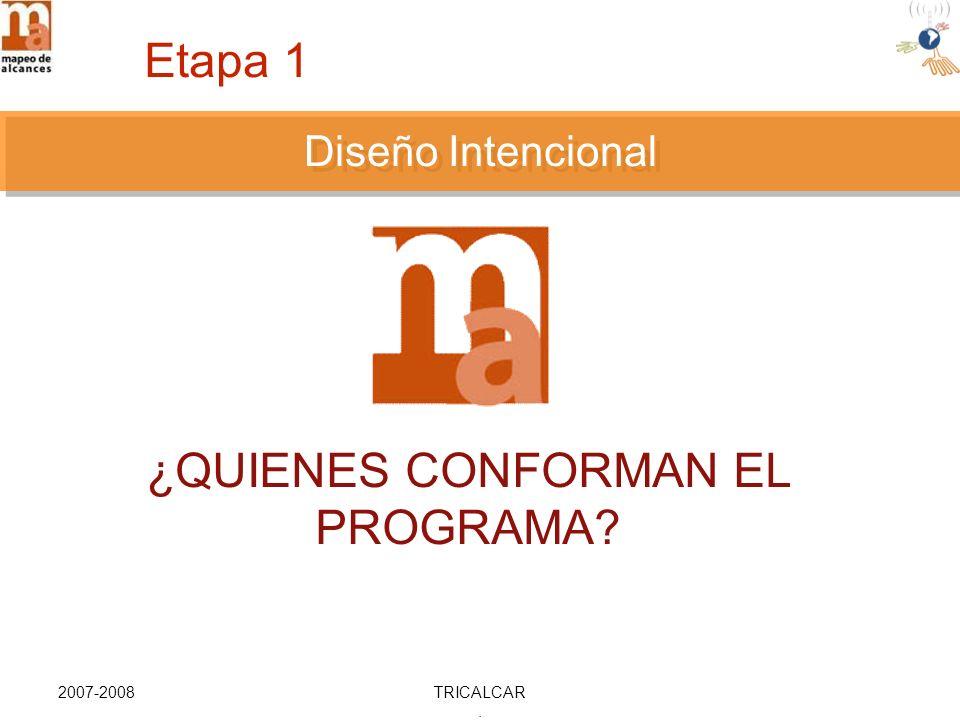 2007-2008TRICALCAR. DISEÑO INTENCIONAL ¿QUIENES CONFORMAN EL PROGRAMA Diseño Intencional Etapa 1