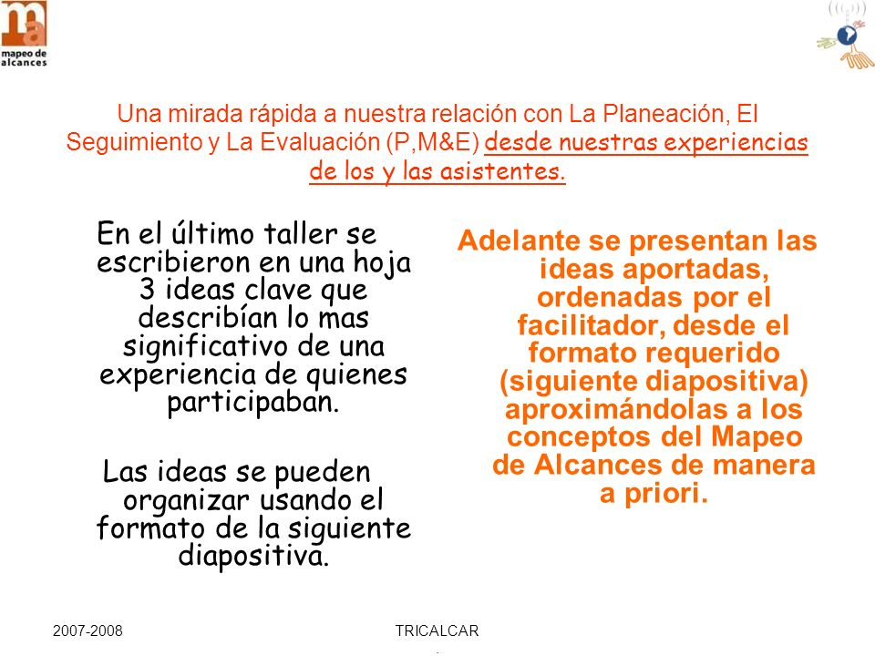 2007-2008TRICALCAR. Estrategias y Prácticas de la Organización Etapa 1 Diseño Intencional