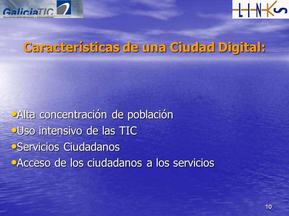 10 Características de una Ciudad Digital: Alta concentración de población Alta concentración de población Uso intensivo de las TIC Uso intensivo de la