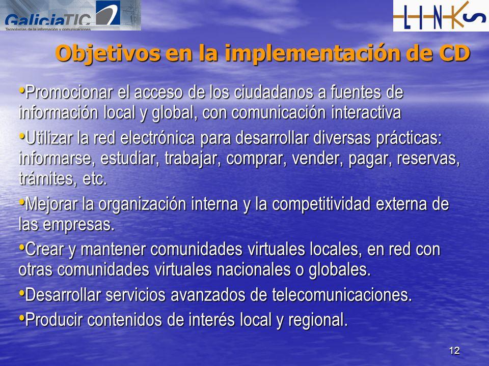 12 Objetivos en la implementación de CD Promocionar el acceso de los ciudadanos a fuentes de información local y global, con comunicación interactiva