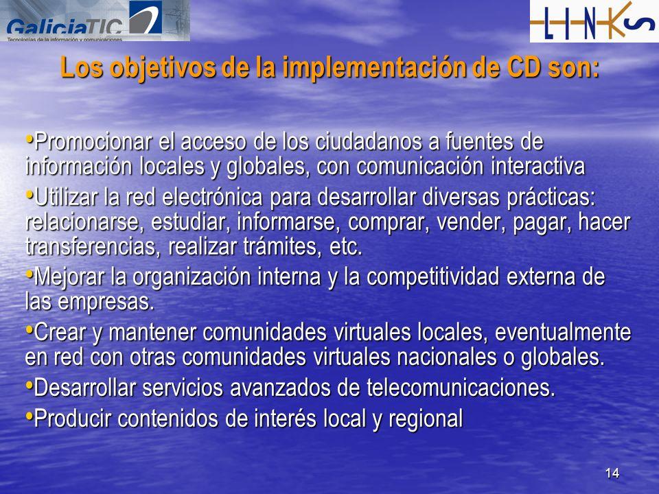 14 Los objetivos de la implementación de CD son: Promocionar el acceso de los ciudadanos a fuentes de información locales y globales, con comunicación
