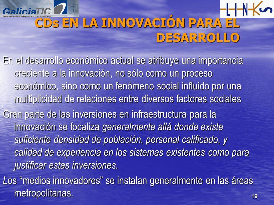 19 CDs EN LA INNOVACIÓN PARA EL DESARROLLO En el desarrollo económico actual se atribuye una importancia creciente a la innovación, no sólo como un pr