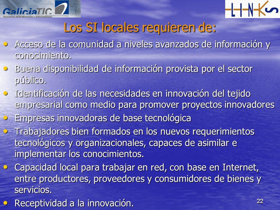 22 Los SI locales requieren de: Acceso de la comunidad a niveles avanzados de información y conocimiento. Acceso de la comunidad a niveles avanzados d