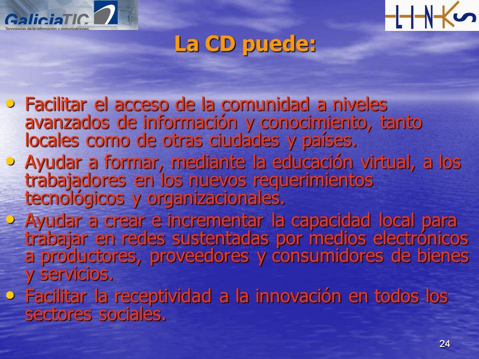 24 La CD puede: Facilitar el acceso de la comunidad a niveles avanzados de información y conocimiento, tanto locales como de otras ciudades y países.