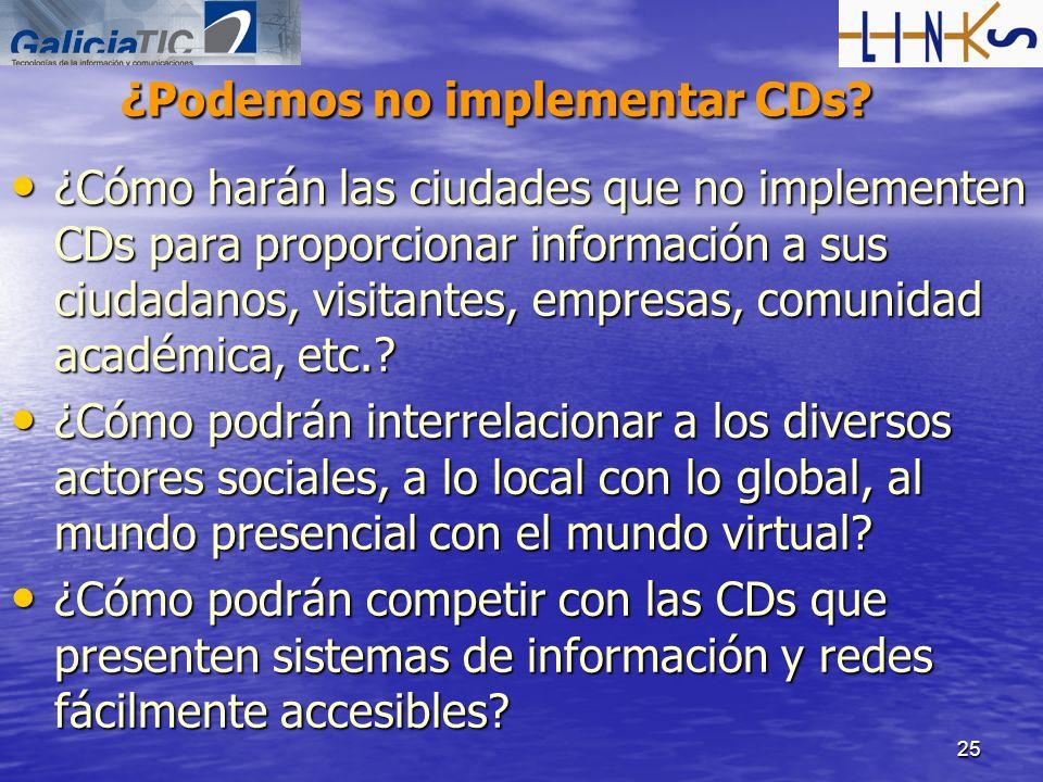 25 ¿Podemos no implementar CDs? ¿Cómo harán las ciudades que no implementen CDs para proporcionar información a sus ciudadanos, visitantes, empresas,
