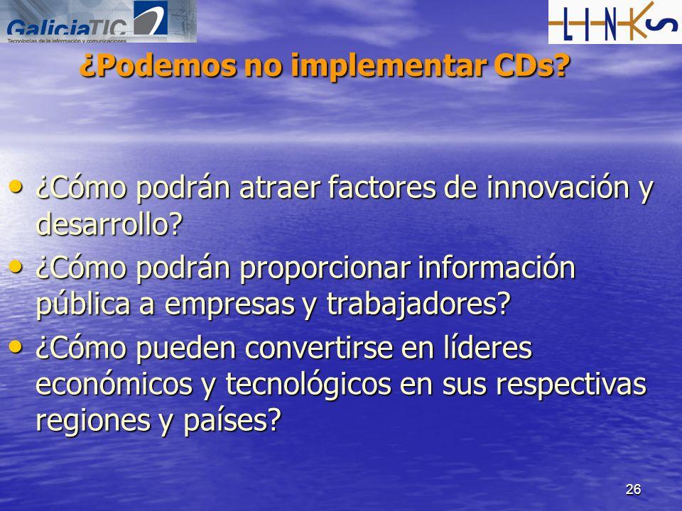 26 ¿Podemos no implementar CDs? ¿Cómo podrán atraer factores de innovación y desarrollo? ¿Cómo podrán atraer factores de innovación y desarrollo? ¿Cóm