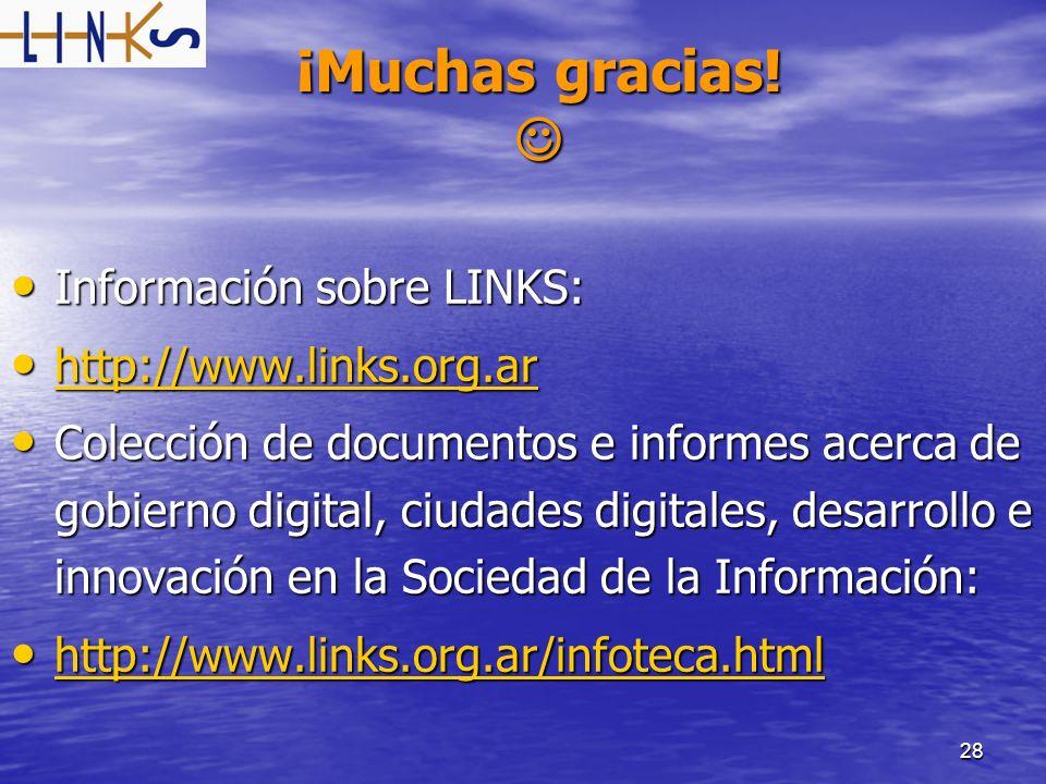 28 ¡Muchas gracias! ¡Muchas gracias! Información sobre LINKS: Información sobre LINKS: http://www.links.org.ar http://www.links.org.ar http://www.link