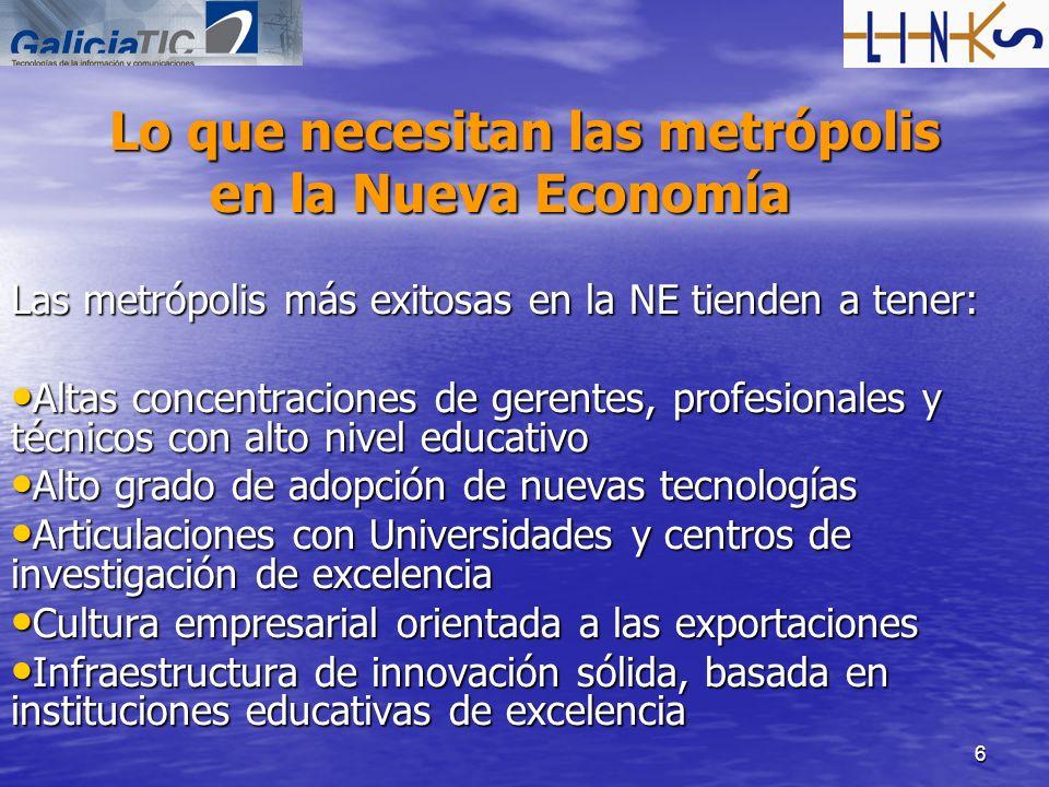 6 Lo que necesitan las metrópolis en la Nueva Economía Las metrópolis más exitosas en la NE tienden a tener: Altas concentraciones de gerentes, profes