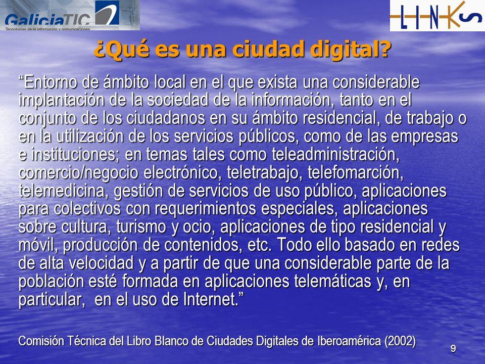 9 ¿Qué es una ciudad digital? Entorno de ámbito local en el que exista una considerable implantación de la sociedad de la información, tanto en el con