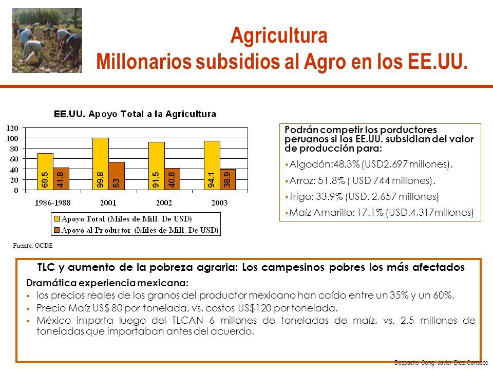 Fuente: OCDE TLC y aumento de la pobreza agraria: Los campesinos pobres los más afectados Dramática experiencia mexicana: los precios reales de los granos del productor mexicano han caído entre un 35% y un 60%.