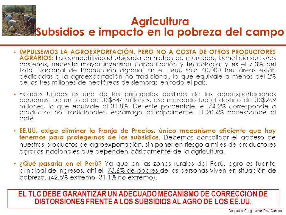 Agricultura Subsidios e impacto en la pobreza del campo IMPULSEMOS LA AGROEXPORTACIÓN, PERO NO A COSTA DE OTROS PRODUCTORES AGRARIOS: La competitividad ubicada en nichos de mercado, beneficia sectores costeños, necesita mayor inverisión capacitación y tecnología, y es el 7.3% del Total Nacional de Producción agraria.