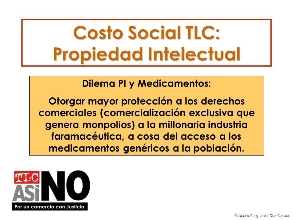 Costo Social TLC: Propiedad Intelectual Despacho Cong.