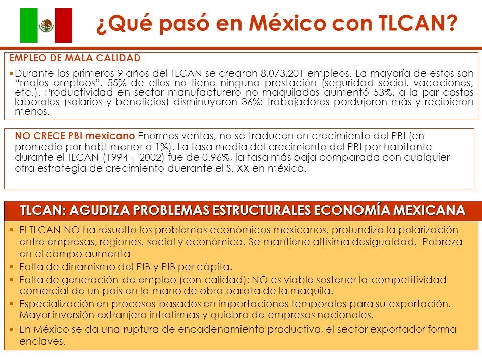 El TLCAN NO ha resuelto los problemas económicos mexicanos, profundiza la polarización entre empresas, regiones, social y económica.