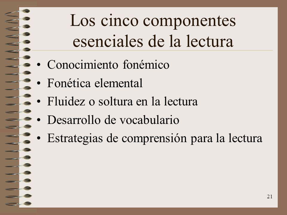 21 Los cinco componentes esenciales de la lectura Conocimiento fonémico Fonética elemental Fluidez o soltura en la lectura Desarrollo de vocabulario E