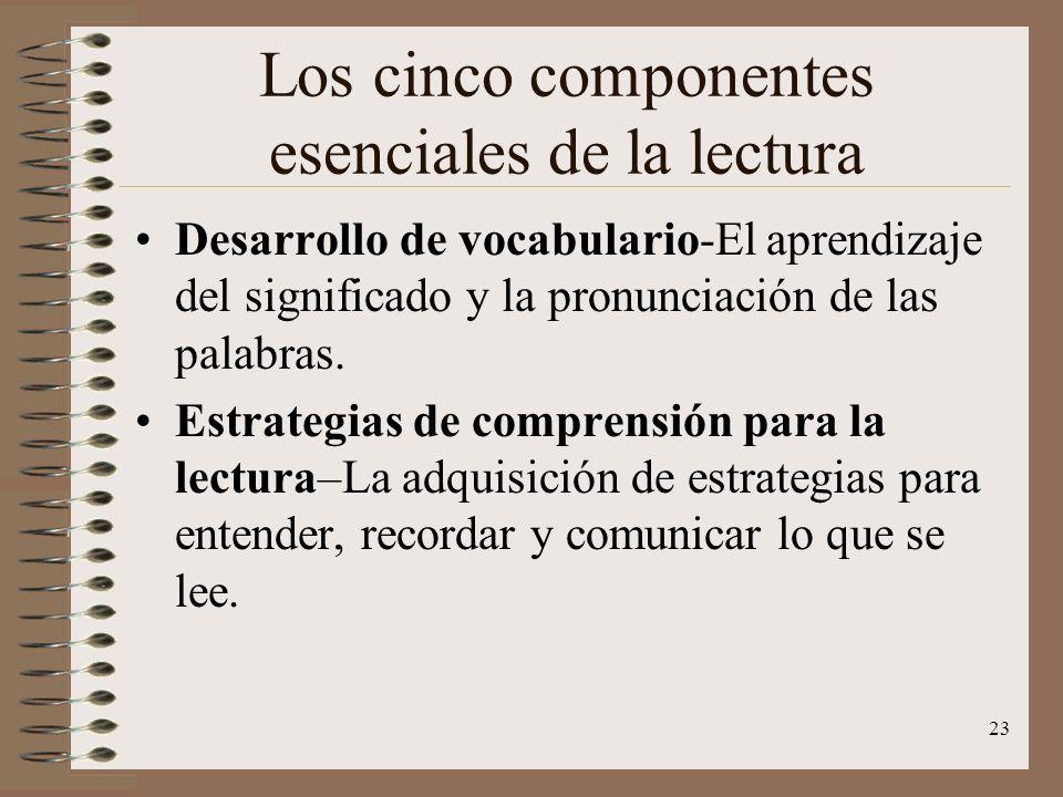 23 Los cinco componentes esenciales de la lectura Desarrollo de vocabulario-El aprendizaje del significado y la pronunciación de las palabras. Estrate