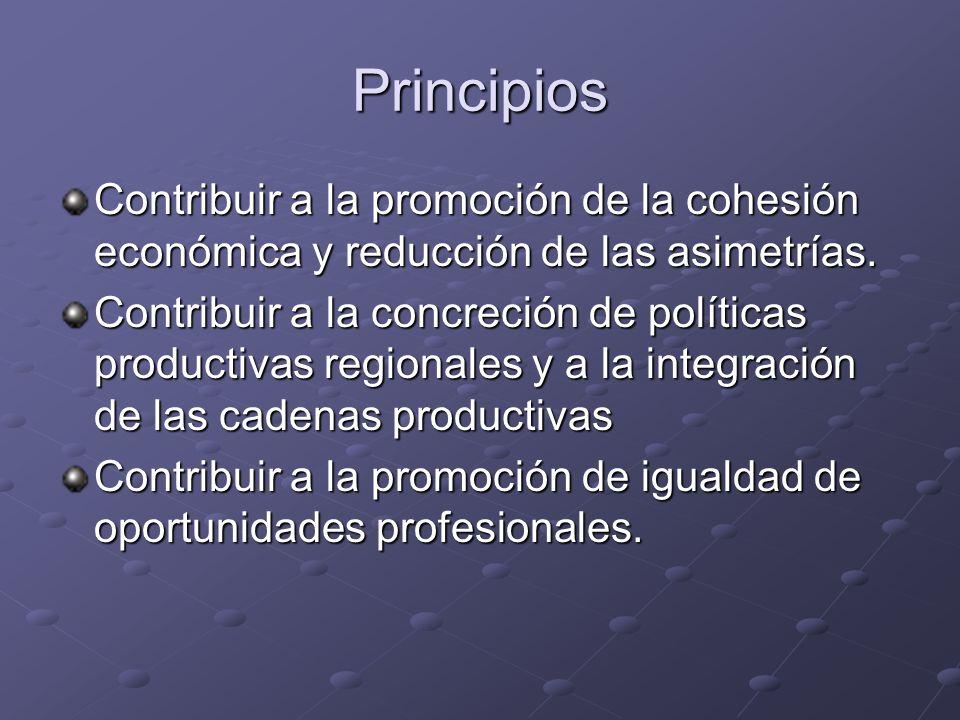 Principios Contribuir a la promoción de la cohesión económica y reducción de las asimetrías.