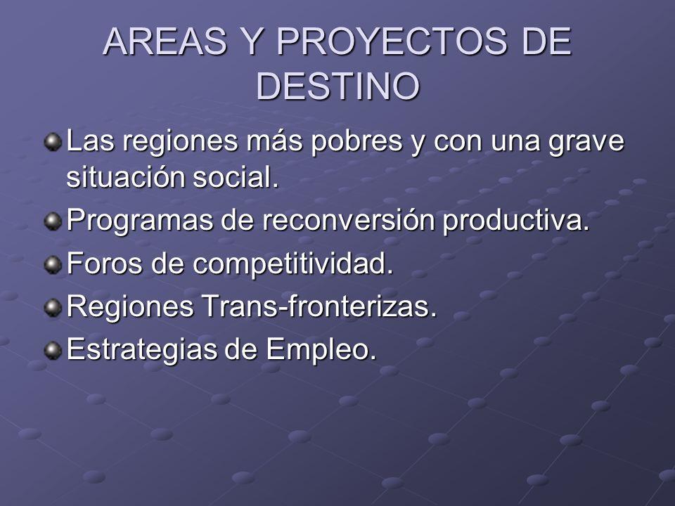 AREAS Y PROYECTOS DE DESTINO Las regiones más pobres y con una grave situación social.