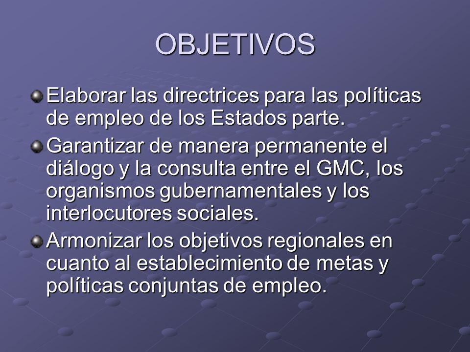 OBJETIVOS Elaborar las directrices para las políticas de empleo de los Estados parte.