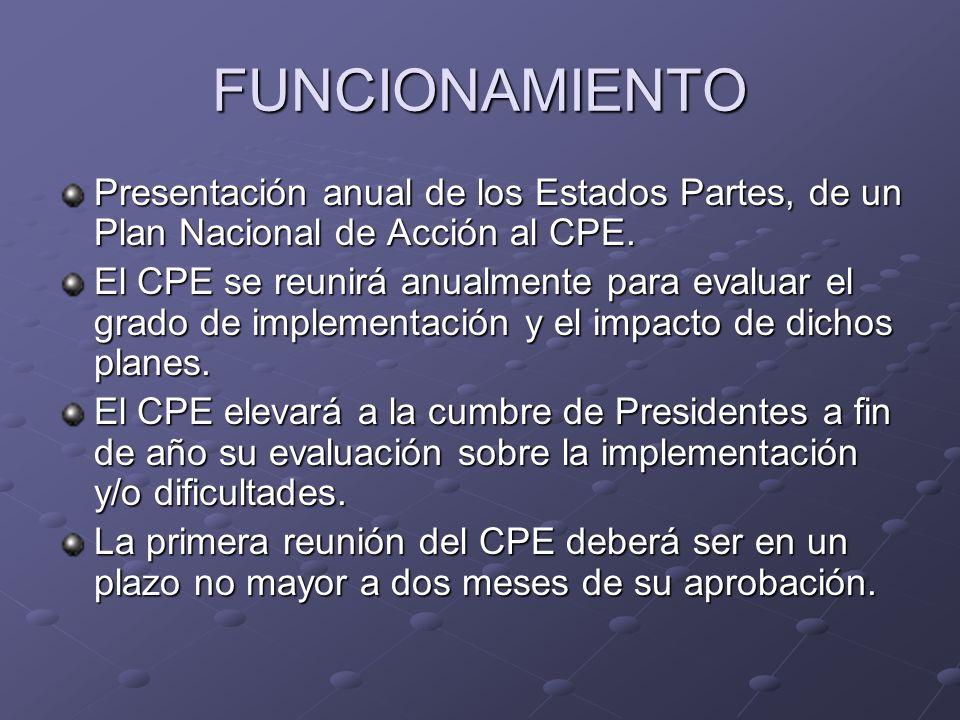 FUNCIONAMIENTO Presentación anual de los Estados Partes, de un Plan Nacional de Acción al CPE.