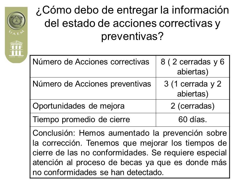 ¿Cómo debo de entregar la información del estado de acciones correctivas y preventivas.