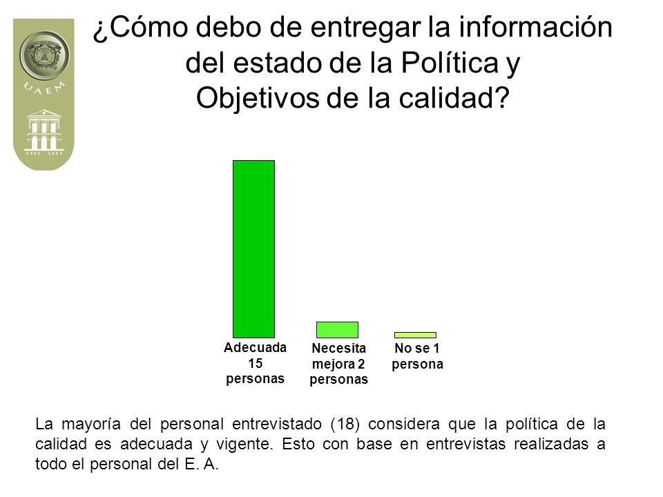¿Cómo debo de entregar la información del estado de la Política y Objetivos de la calidad.