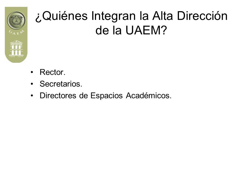 ¿Quiénes Integran la Alta Dirección de la UAEM. Rector.
