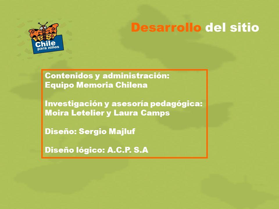 Desarrollo del sitio Contenidos y administración: Equipo Memoria Chilena Investigación y asesoría pedagógica: Moira Letelier y Laura Camps Diseño: Sergio Majluf Diseño lógico: A.C.P.