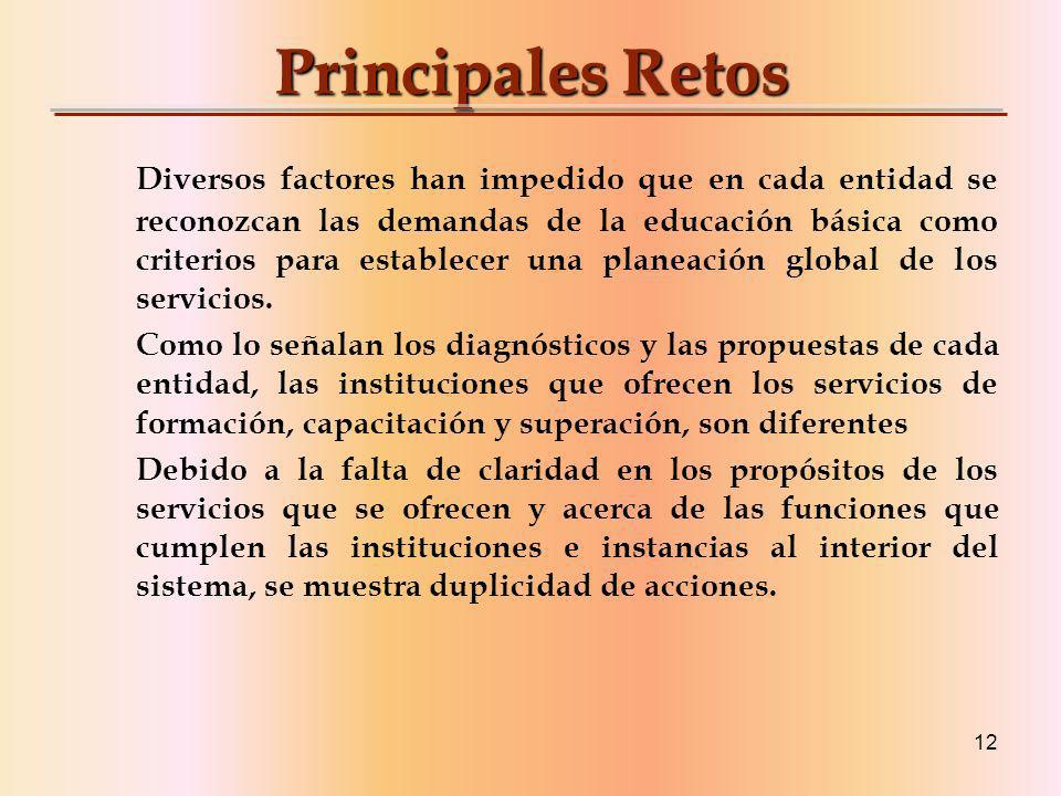 12 Principales Retos Diversos factores han impedido que en cada entidad se reconozcan las demandas de la educación básica como criterios para establecer una planeación global de los servicios.