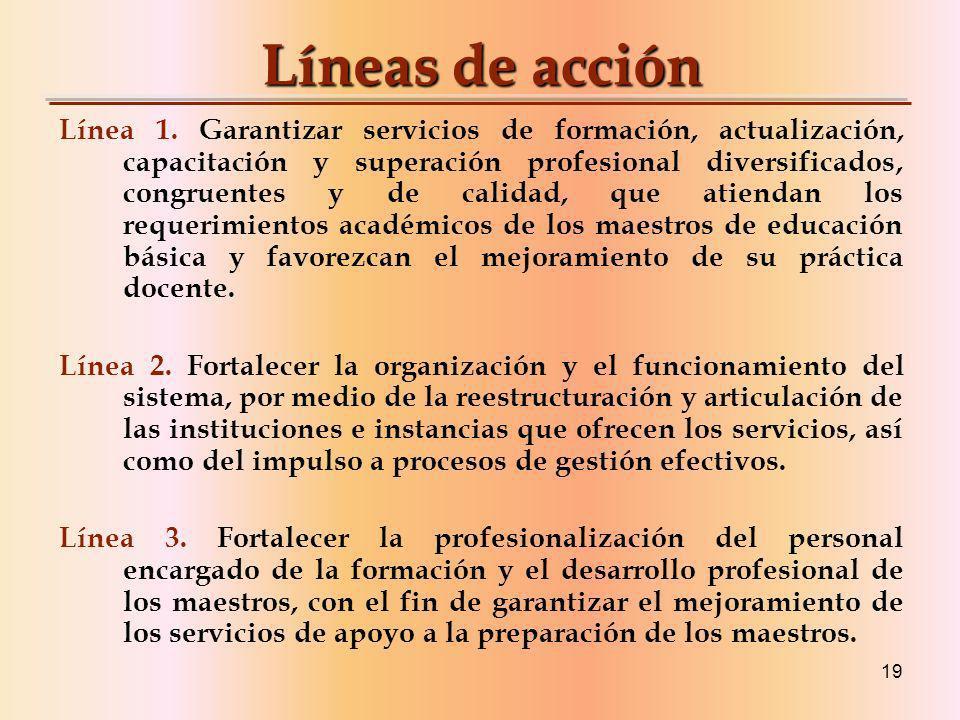 19 Líneas de acción Línea 1.