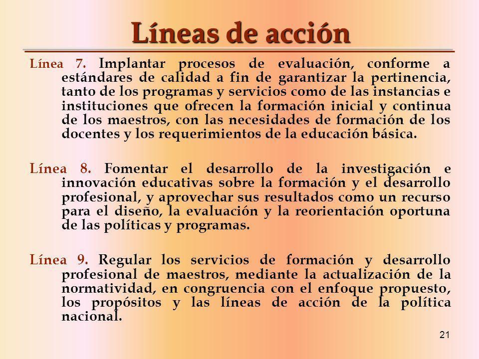 21 Líneas de acción Línea 7.