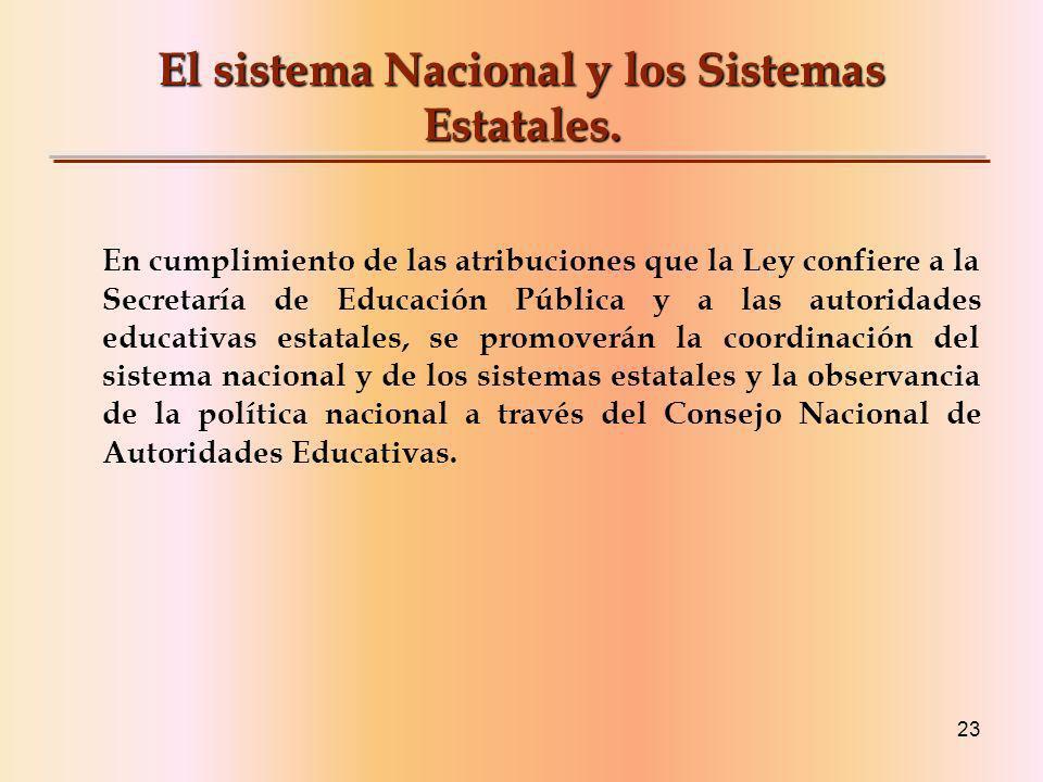 23 El sistema Nacional y los Sistemas Estatales.