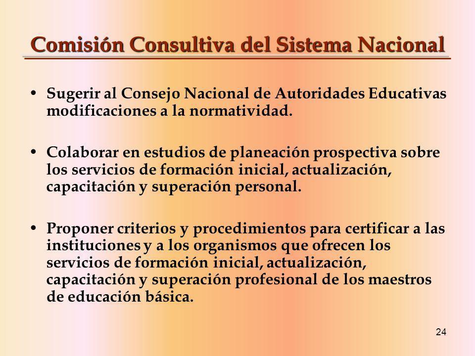 24 Comisión Consultiva del Sistema Nacional Sugerir al Consejo Nacional de Autoridades Educativas modificaciones a la normatividad.