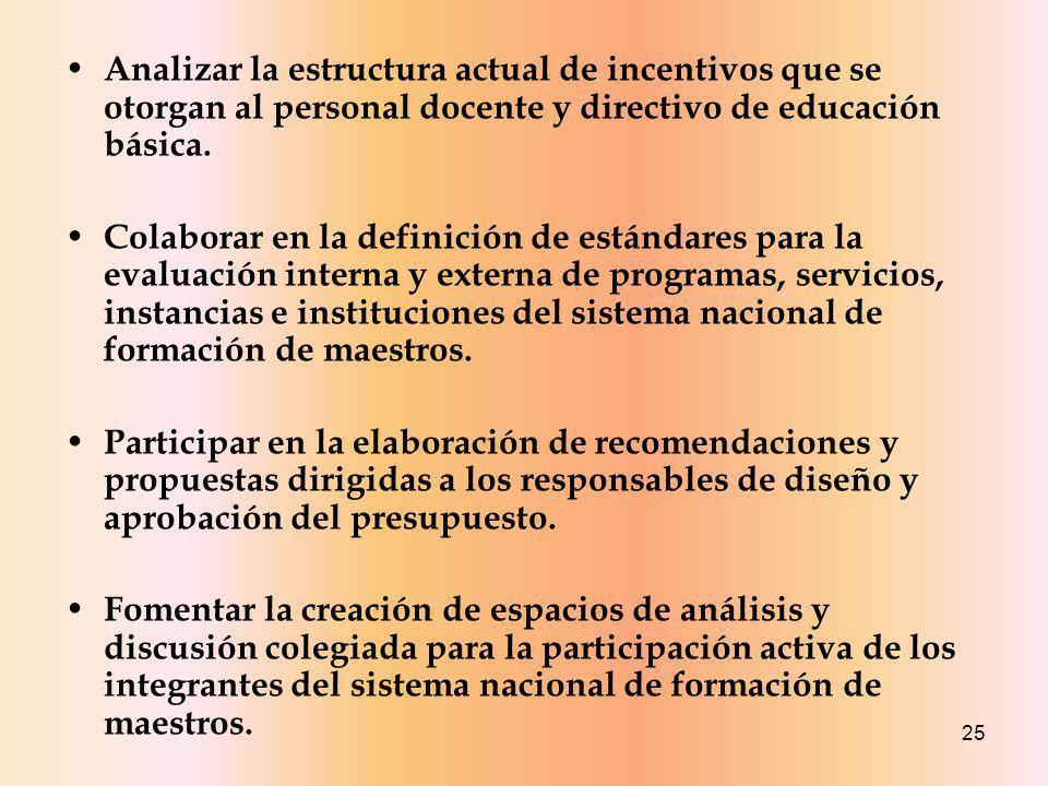 25 Analizar la estructura actual de incentivos que se otorgan al personal docente y directivo de educación básica.