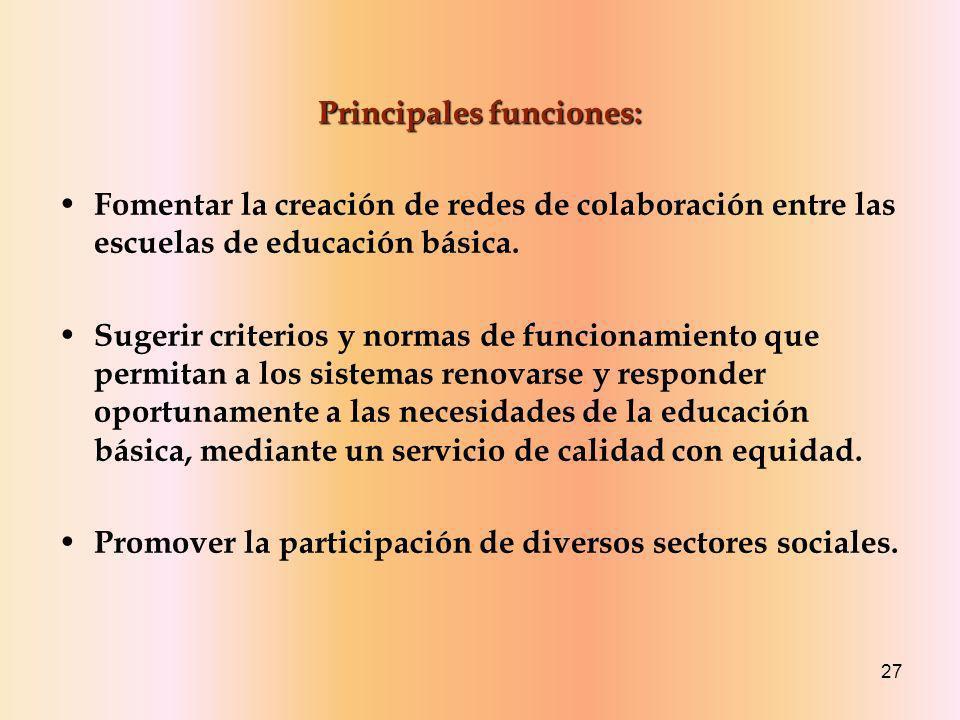27 Principales funciones: Fomentar la creación de redes de colaboración entre las escuelas de educación básica.
