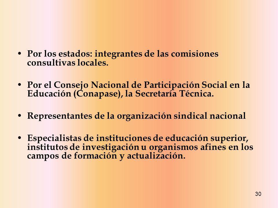 30 Por los estados: integrantes de las comisiones consultivas locales.