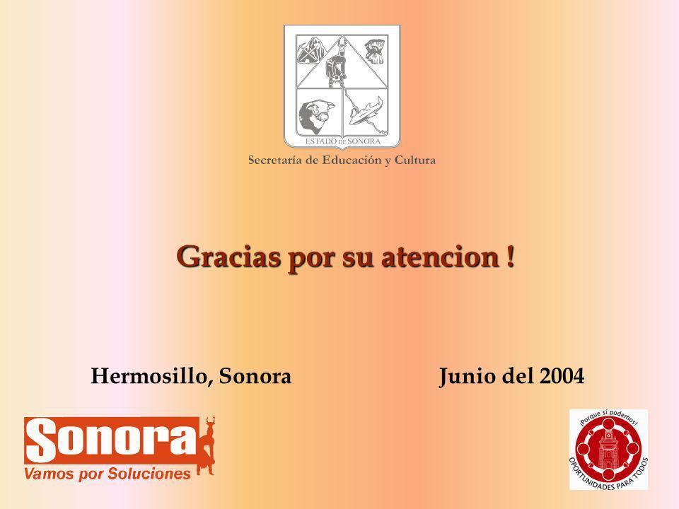 34 Gracias por su atencion ! Hermosillo, Sonora Junio del 2004