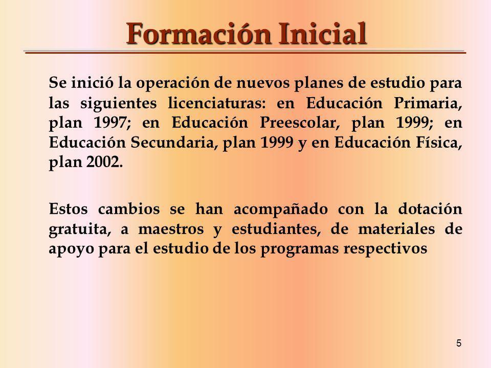 5 Formación Inicial Se inició la operación de nuevos planes de estudio para las siguientes licenciaturas: en Educación Primaria, plan 1997; en Educación Preescolar, plan 1999; en Educación Secundaria, plan 1999 y en Educación Física, plan 2002.
